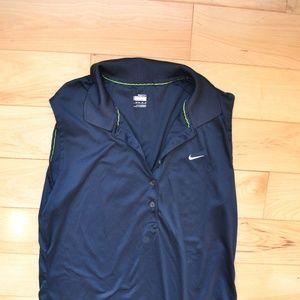 Nike fit dry sleeveless  blue polo shirt L large